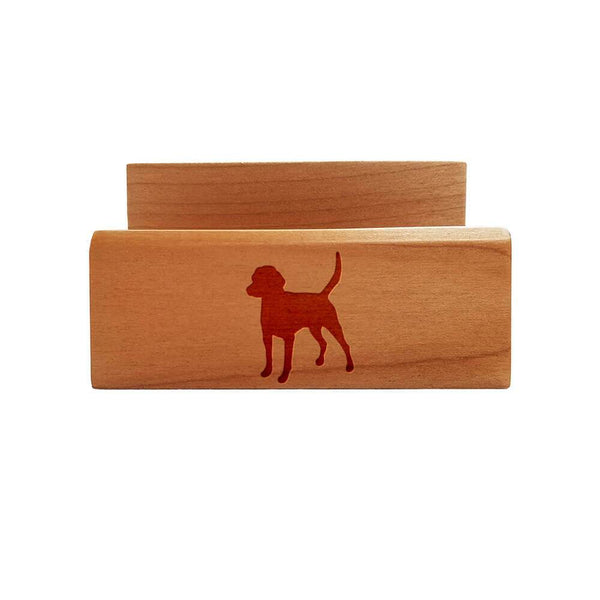 English Foxhound Laser Engraved Maple Business Card Holder