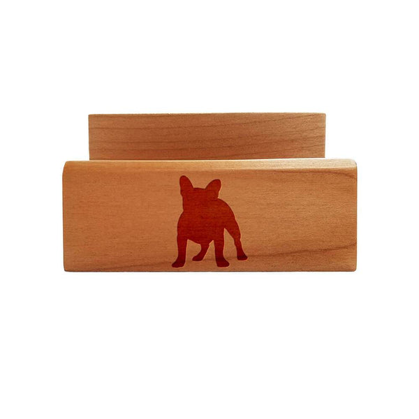 French Bulldog Laser Engraved Maple Business Card Holder
