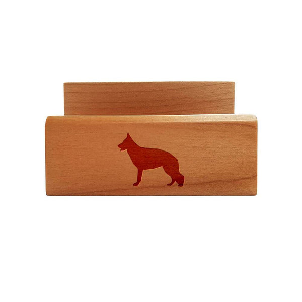 German Shepherd Dog Laser Engraved Maple Business Card Holder