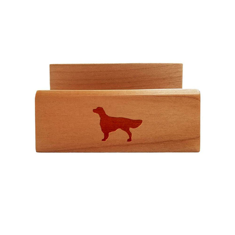 Irish Red and White Setter Laser Engraved Maple Business Card Holder