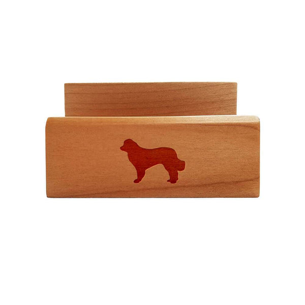 Leonberger Laser Engraved Maple Business Card Holder