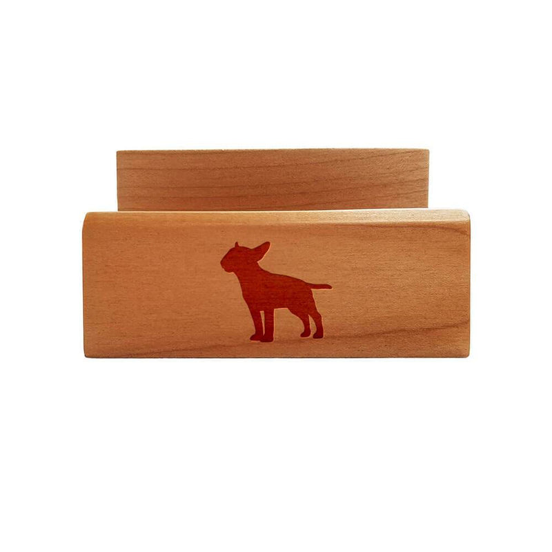 Miniature Bull Terrier Laser Engraved Maple Business Card Holder