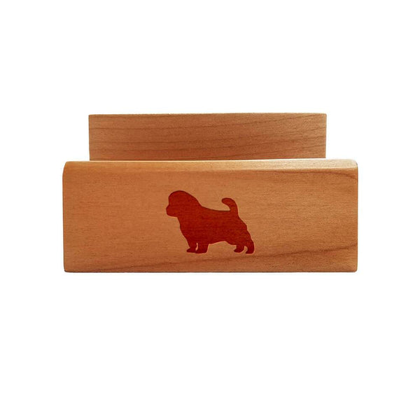 Norfolk Terrier Laser Engraved Maple Business Card Holder