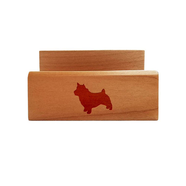 Norwich Terrier Laser Engraved Maple Business Card Holder