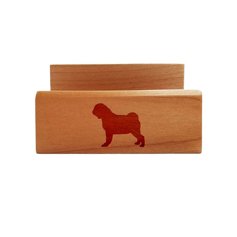Pug Laser Engraved Maple Business Card Holder