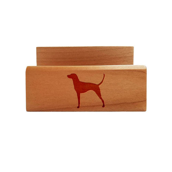 Redbone Coonhound Laser Engraved Maple Business Card Holder
