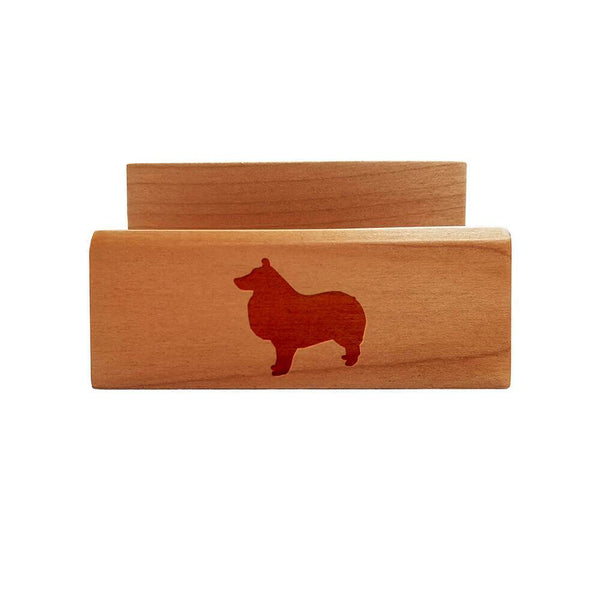 Shetland Sheepdog Laser Engraved Maple Business Card Holder