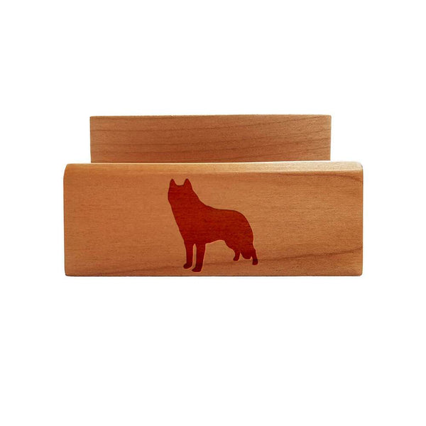Siberian Husky Laser Engraved Maple Business Card Holder