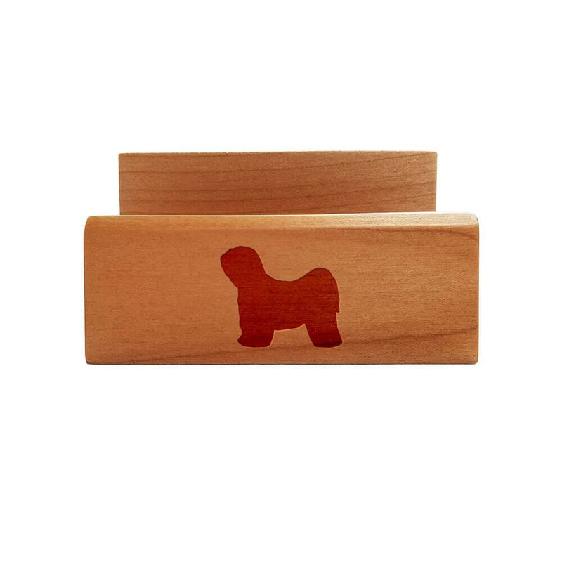 Tibetan Terrier Laser Engraved Maple Business Card Holder