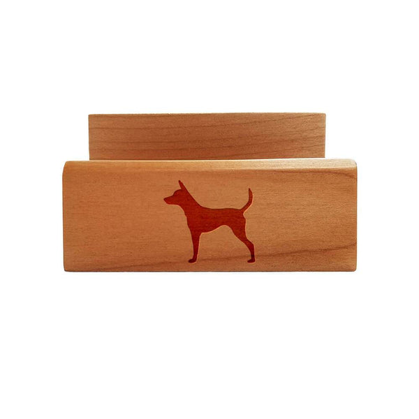 Toy Fox Terrier Laser Engraved Maple Business Card Holder