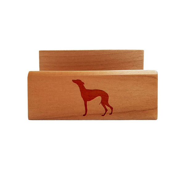 Whippet Laser Engraved Maple Business Card Holder