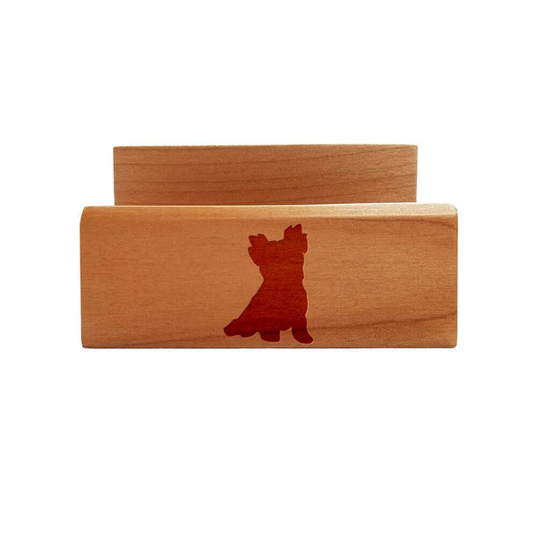 Yorkshire Terrier-Pet Cut Laser Engraved Maple Business Card Holder