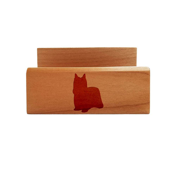 Yorkshire Terrier-Show Cut Laser Engraved Maple Business Card Holder
