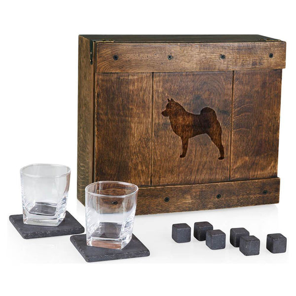 Norwegian Elkhound Laser Engraved Whiskey Box