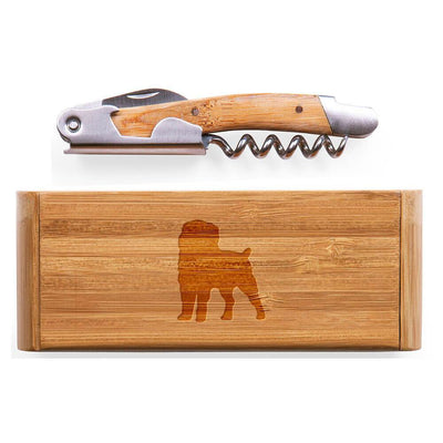 Affenpinscher Elan Bamboo Corkscrew with Laser Engraved Case
