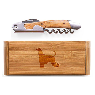 Afghan Hound Elan Bamboo Corkscrew with Laser Engraved Case