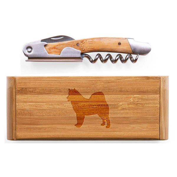 Alaskan Malamute Laser Engraved Bamboo Corkscrew with Case