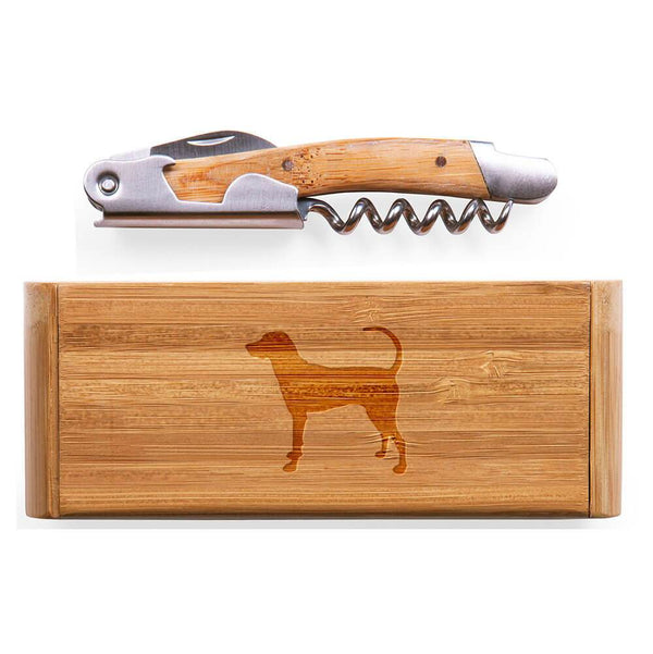 American English Coonhound Laser Engraved Bamboo Corkscrew with Case