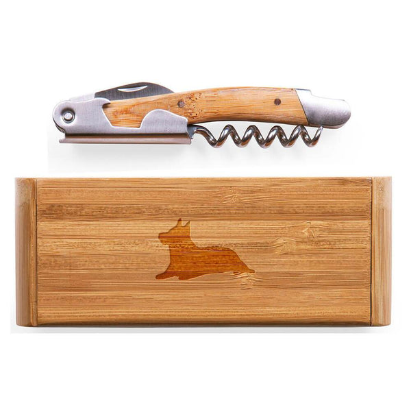 Australian Terrier Laser Engraved Bamboo Corkscrew with Case