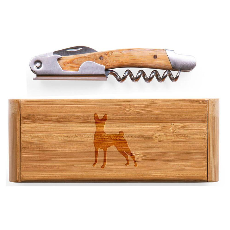 Basenji Laser Engraved Bamboo Corkscrew with Case