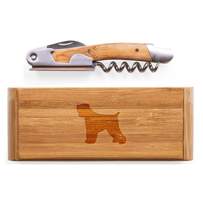 Black Russian Terrier Elan Bamboo Corkscrew with Laser Engraved Case