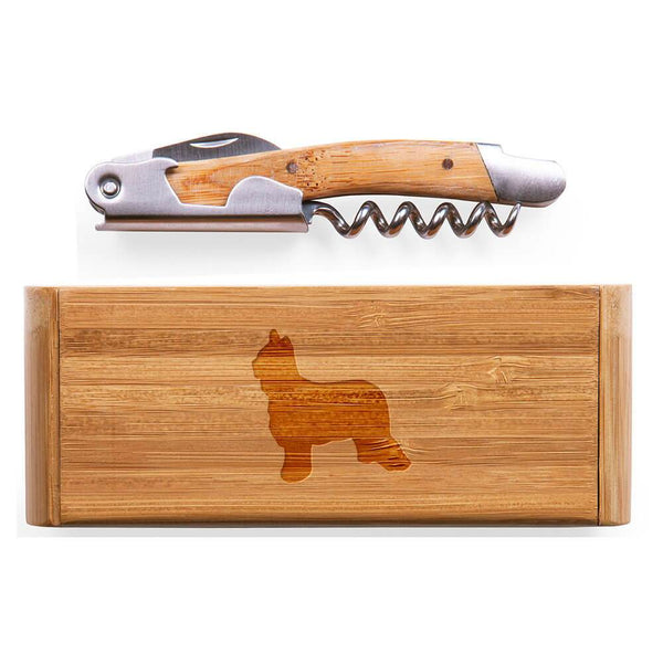 Briard Laser Engraved Bamboo Corkscrew with Case