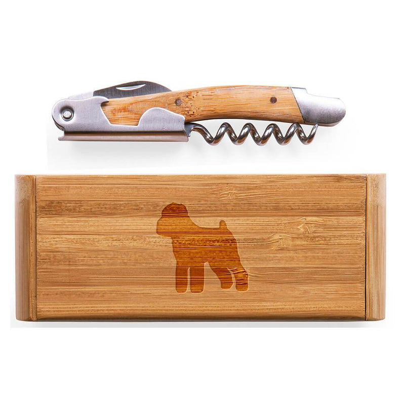 Brussels Griffon Laser Engraved Bamboo Corkscrew with Case