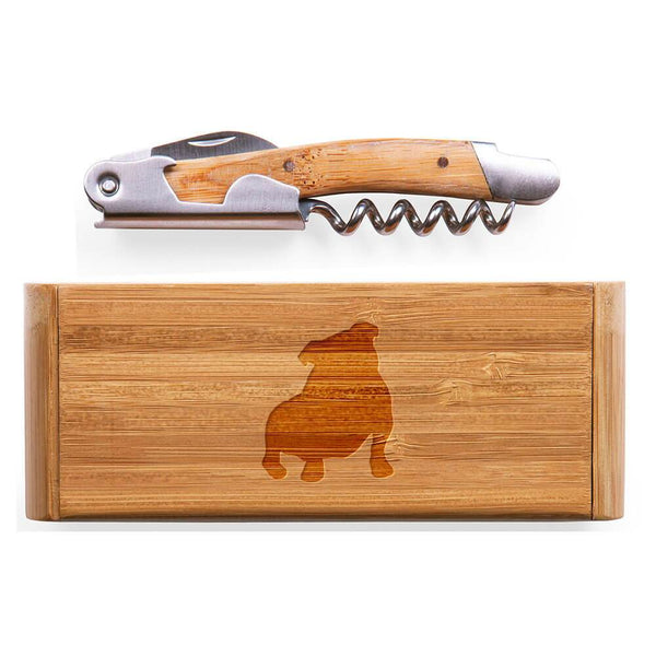 Bulldog Laser Engraved Bamboo Corkscrew with Case