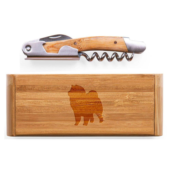 Chow Chow Laser Engraved Bamboo Corkscrew with Case