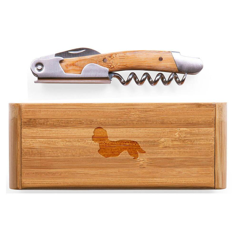 Dandie Dinmont Terrier Laser Engraved Bamboo Corkscrew with Case