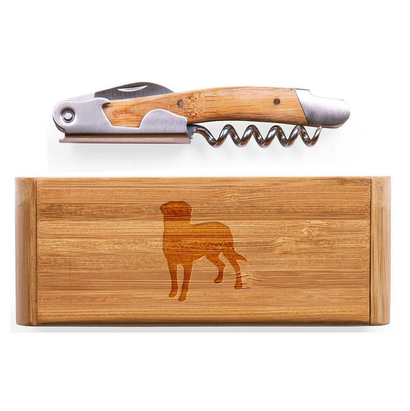 Entlebucher Mountain Dog Laser Engraved Bamboo Corkscrew with Case