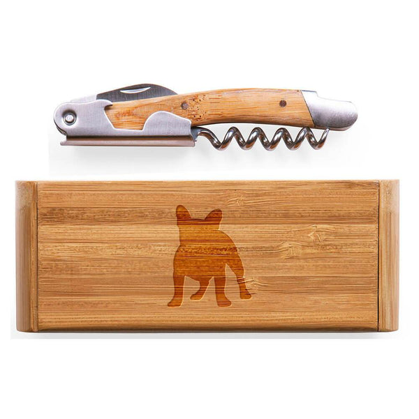 French Bulldog Laser Engraved Bamboo Corkscrew with Case