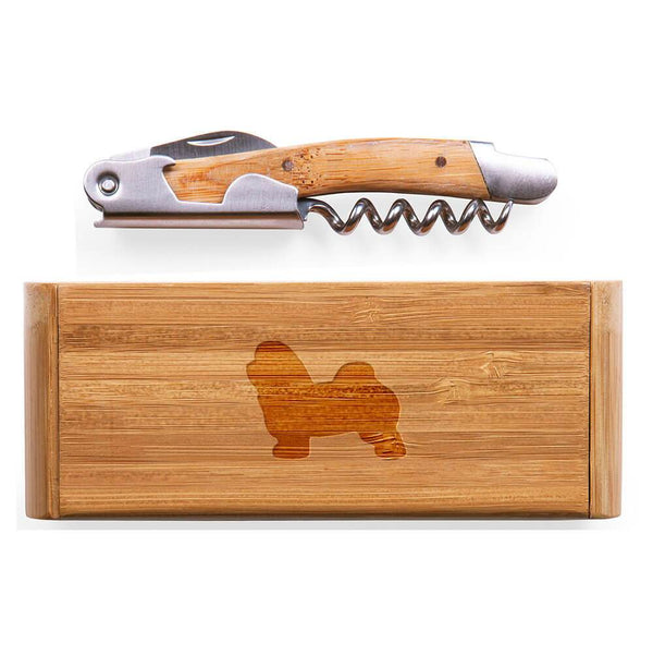 Havanese Laser Engraved Bamboo Corkscrew with Case