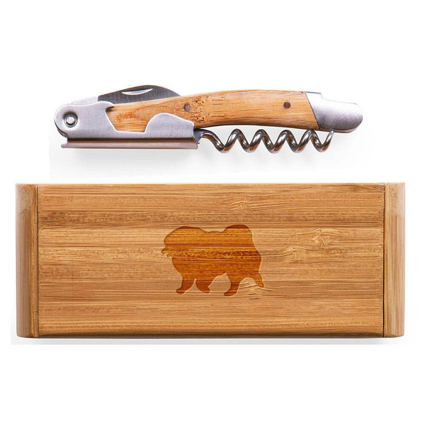 Keeshond Laser Engraved Bamboo Corkscrew with Case