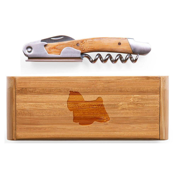 Maltese Laser Engraved Bamboo Corkscrew with Case