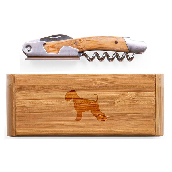 Miniature Schnauzer Laser Engraved Bamboo Corkscrew with Case