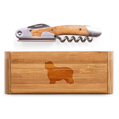 Polish Lowland Sheepdog Elan Bamboo Corkscrew with Laser Engraved Case