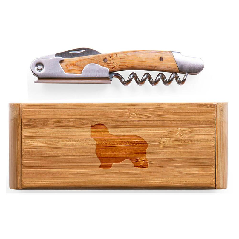 Polish Lowland Sheepdog Laser Engraved Bamboo Corkscrew with Case