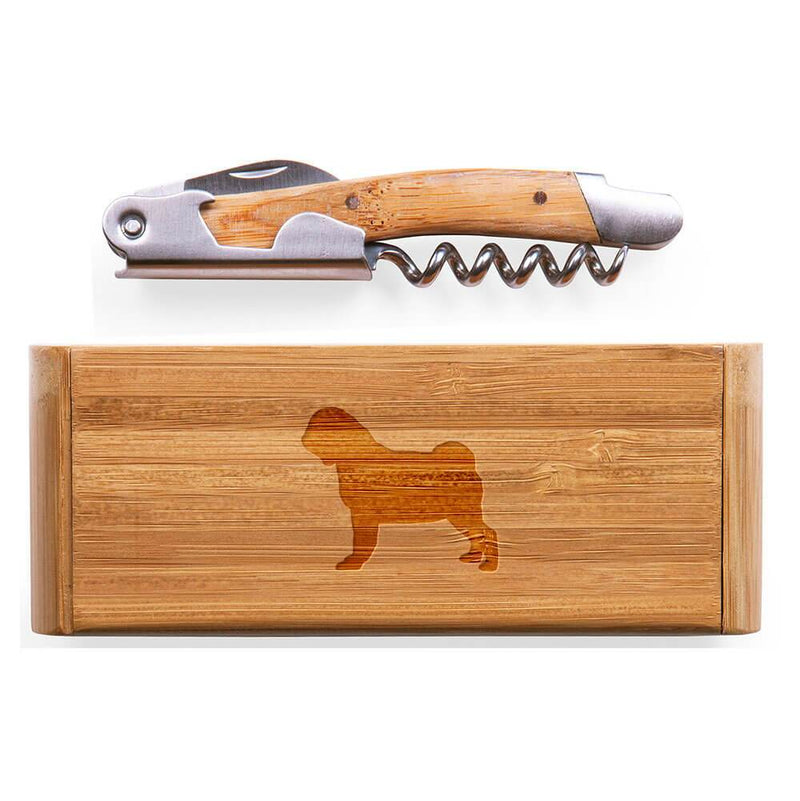 Pug Laser Engraved Bamboo Corkscrew with Case