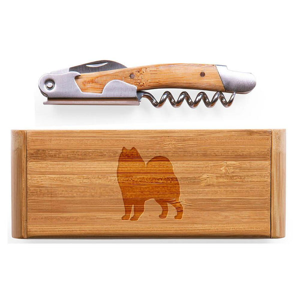 Samoyed Laser Engraved Bamboo Corkscrew with Case