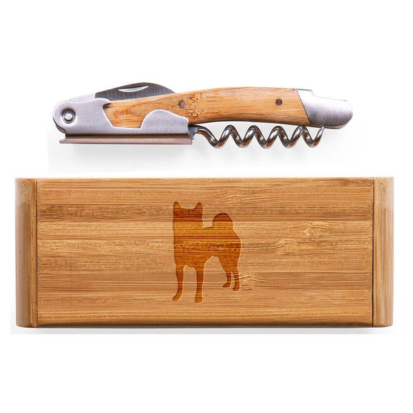 Shiba Inu Laser Engraved Bamboo Corkscrew with Case
