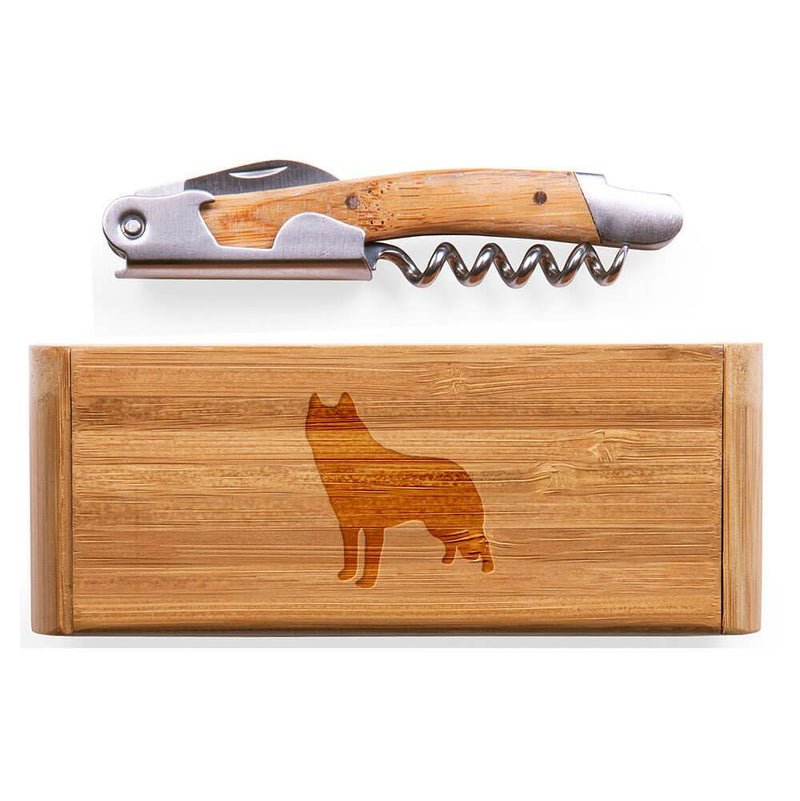 Siberian Husky Laser Engraved Bamboo Corkscrew with Case