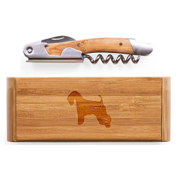 Soft Coated Wheaten Terrier Laser Engraved Bamboo Corkscrew with Case