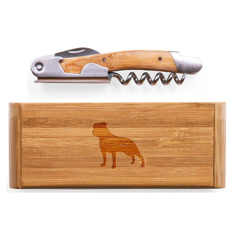 Staffordshire Bull Terrier Laser Engraved Bamboo Corkscrew with Case