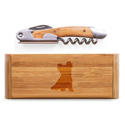 Yorkshire Terrier-Pet Cut Elan Bamboo Corkscrew with Laser Engraved Case