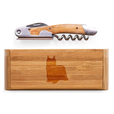 Yorkshire Terrier-Show Cut Elan Bamboo Corkscrew with Laser Engraved Case