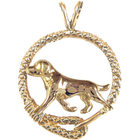 Solid 14K Gold Labrador Retriever Leash Pendant