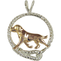Solid 14K Gold Labrador Retriever in Sterling Silver Leash Pendant