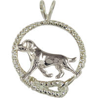 Labrador Retriever in Solid Sterling Silver Leash Pendant