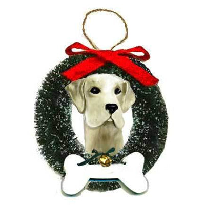 Labrador Retriever Wreath and Bone Ornament
